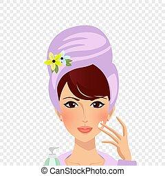 clipart, mujer, turbante, cara, puesto, toalla, crema
