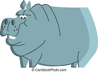Clipart of a blue angry hippo animal vector color drawing or illustration