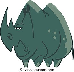 Clipart of a blue angry hippo or rhinoceros vector color drawing or illustration