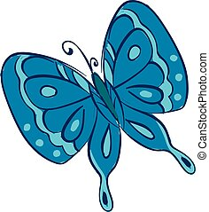 Clipart of a blue butterfly vector or color illustration