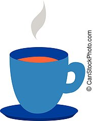 Clipart of a blue teacup and saucer filled with the hot steaming tea, vector or color illustration.