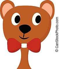 Clipart of a cute teddy bear wearing a red bow-like ribbon vector or color illustration