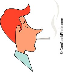 Clipart of a man smoking a cigarette bud set on isolated white background viewed from the side, vector or color illustration.