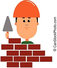 Clipart of a mason/Clipart of a builder vector or color illustration