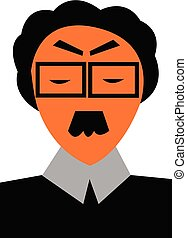 Clipart of a professor wearing formal shirt and a square...