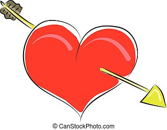 Clipart of a red heart struck with an arrow vector or color illustration
