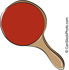 Clipart of a red table tennis racket vector or color illustration