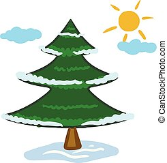 Clipart of a spruce tree and a rising sun on the winter season/ Xmas tree vector or color illustration