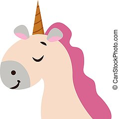 Clipart of a unicorn set on isolated white background, vector or color illustration