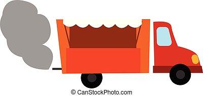 Clipart of an orange dump truck emitting smoke, vector or color illustration