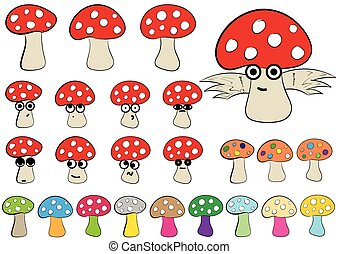 Clipart of fly agarics - Clipart with multi-colored, winged,...