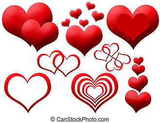 Clipart of red hearts - Clipart of red isolated hearts