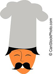 Clipart of the face of a happy chef with his long mustache vector color drawing or illustration
