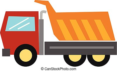Clipart of the large goods vehicle, truck/Semi-tractor trailers, dump truck, vector or color illustration