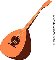 Clipart of the musical instrument, mandolin, vector or color illustration