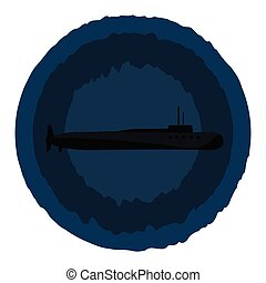Clipart of the painting of a submarine over blue background vector or color illustration