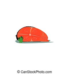 Clipart of the salmon fillet, vector or color illustration