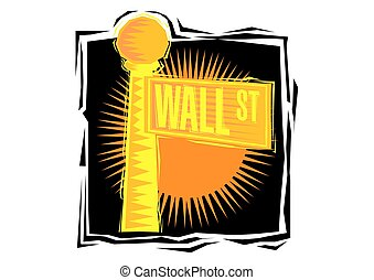 Clipart of Wall Street sign in lower Manhattan New York