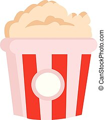 Clipart of yummy popcorn in a large paper bag with red and white stripes vector or color illustration