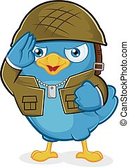 Blue Bird Army - Clipart Picture of a Blue Bird Army Cartoon...