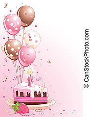 Clipart pink lustration of a Slice Of Birthday Cake With Balloons And Confetti