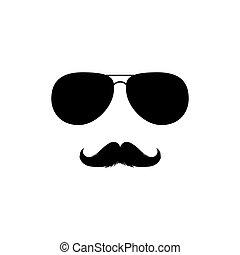 clipart., silueta, vector, moustaches, gafas de sol, aislado...