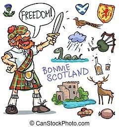 clipart, skócia, bonnie, gyűjtés, karikatúra