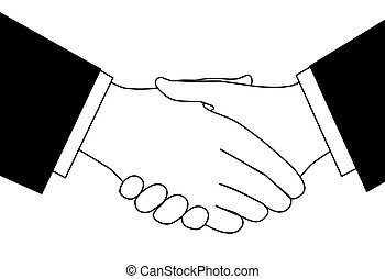 Clipart sketch of business deal handshake in black and white...