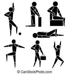clipart style people - Simplified people doing various tasks
