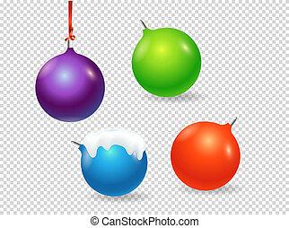 clipart., voorwerpen, vrijstaand, kerstmis, vector, achtergrond, transparant, baubles