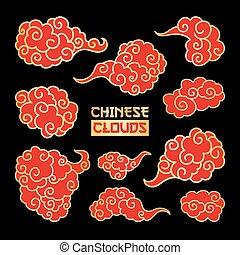 clipart., wolken, chinees, vector, overcloud, kunst, hand,...