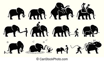 cliparts., 象, 人类, pictograms, 图标