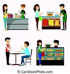 cliparts, 食料雑貨 ショッピング, 人々