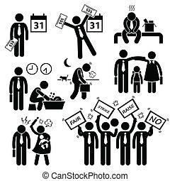 cliparts, arbeiter, problem, finanziell