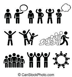 cliparts, bienestar, niños, derechos