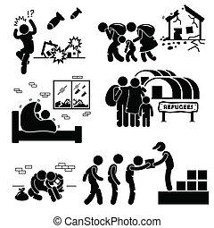 cliparts, evacuee, háború, refugees