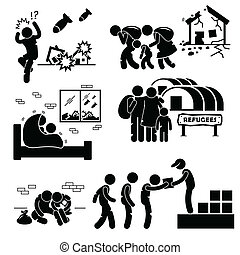 cliparts, evacuee, wojna, refugees