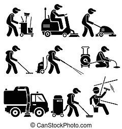 cliparts, faglig arbejder, rensning