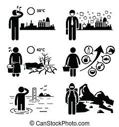 cliparts, globale, effekter, warming