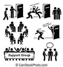 cliparts, grupo, apoyo, reunión