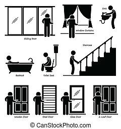 cliparts, hem, fixturer, inomhus, hus