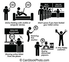 cliparts, internet, réservation, ligne