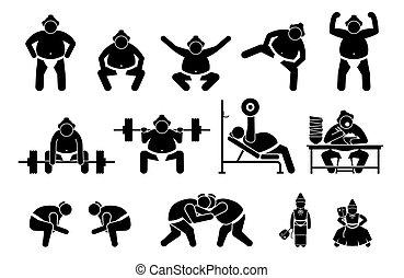 cliparts., japanisches , ringer, piktogramm, sumo,...