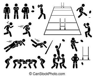cliparts, joueur, poses, rugby, actions