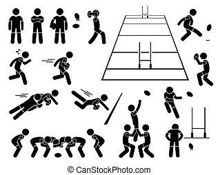 cliparts, jugador, posturas, rugby, acciones