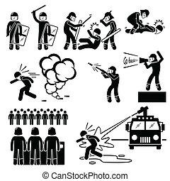 cliparts, polizia, tumulto