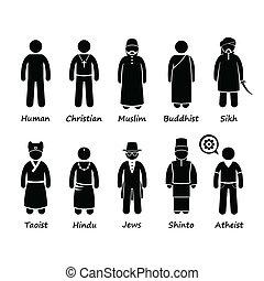 cliparts, religie, mensen, iconen