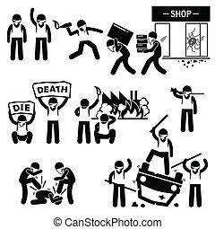 cliparts, ribelle, tumulto, protesters