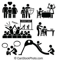 cliparts, soutien, enfants, famille