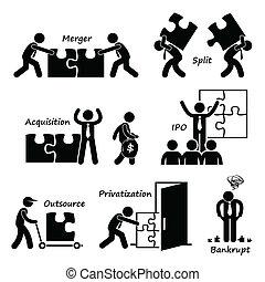 cliparts, társaság, egyesített